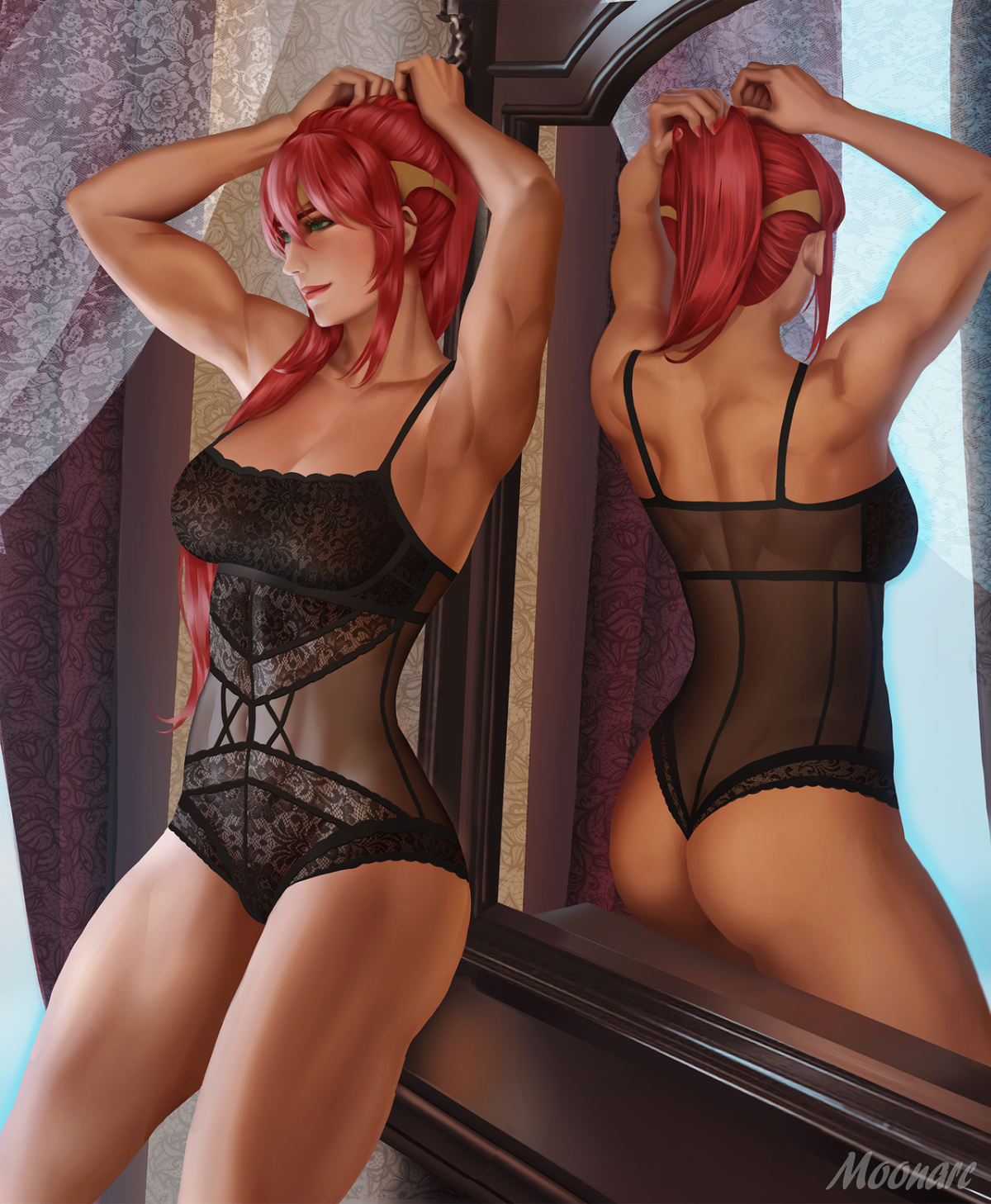 red haired girl mirror by moonarc